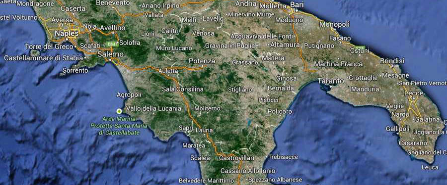 Calabria South Italy Map (Kindly in use by GoogleMaps)