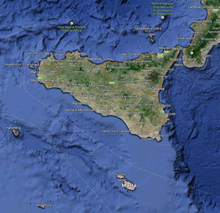 Travel and Holiday to south Italy Sicily map Etna Eolian Islands
